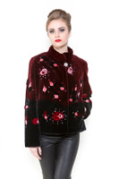 Zuki Merlot Lady Jacket w/ Crystal Embellishments, Front Closure, and Pockets