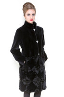 Zuki Diamonds Long Coat w/ Crystal Front Closure and Pockets