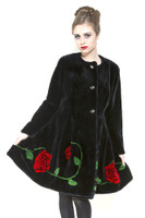 Zuki China Roses Long Coat w/ 3 Crystal Button Closure and Embellishment