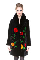 Zuki Gerbera Long Coat w/ 2 Crystal Button Closure and Embellishments