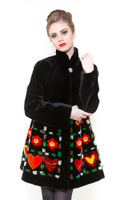 Zuki Broken Hearts Long Coat w/ Crystal Button Closure and Embellishments