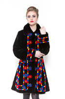 Zuki Carrousel Long Coat w/ Crystal Button Closure and Embellishments