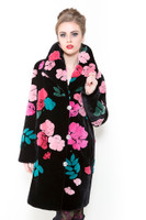 Zuki Pink Garden Long Coat w/ Crystal Button Closure and Embellishments