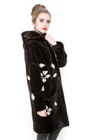 Zuki White Flowers Hooded Long Coat w/ Crystal Embellishments