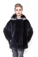 Zuki Reversible Beaver and Chinchilla Coat w/ Pockets and Button Closure