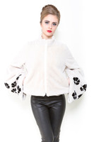 Zuki White and Black Opera Jacket w/ Crystal Embellishments, Pockets, and Zipper Front