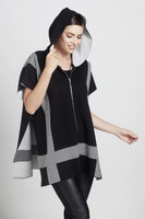 ANGEL Reversible Striped Zip Front Hooded Poncho