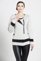 ANGEL Contrast Off-Center Zip Cardigan
