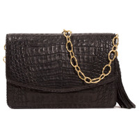 Armenta Mid-Size Box in Black Caiman with Large Oval Link Gold Chain