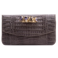 Armenta Flat Clutch with Four Rings, Grey Caiman