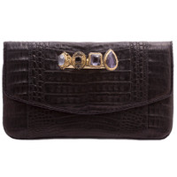 Armenta Flat Clutch with Four Rings, Black Caiman