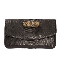 Armenta Flat Clutch in Black Python with Four Rings.