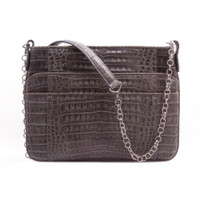 Armenta Slip Pocket Shoulder Bag in Grey Caiman