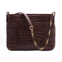 Armenta Slip Pocket Shoulder Bag in Chocolate Caiman