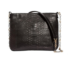 Armenta Slip Pocket Shoulder Bag in Black Waxed Python