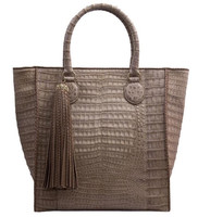 Armenta Tall Shopping Tote in Stone Caiman