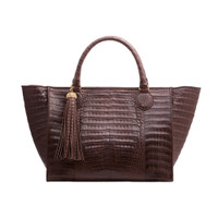 Armenta Large Shopping Tote in Chocolate Caiman
