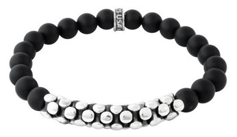 King Baby Studio Black Onyx Beaded Bracelet with Silver Snake Link Bridge