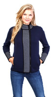 Belford Navy Bi Colored Zip Front Jacket