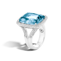 John Hardy Classic Chain Magic Cut Ring, Silver, 20x15MM Gems, Diamonds, Blue Topaz