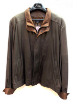 Remy Men's Double Collar Leather Jacket-Rock/Dakota