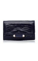Judith Leiber Couture Black Sloane Cayman Crocodile with Silver Accents Handbag