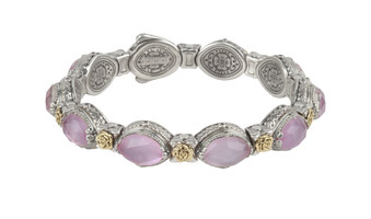 Konstantino Sterling Silver & 18k Gold Pink Mother of Pearl Doublet Bracelet