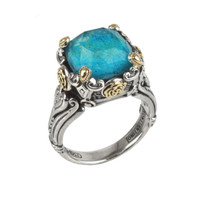Konstantino Sterling Silver & 18k Gold Chrysocolla Doublet Ring