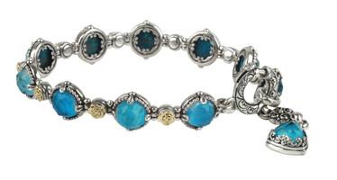 Konstantino Sterling Silver & 18k Gold Chrysocolla Doublet Bracelet