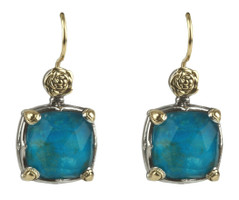 Konstantino Sterling Silver & 18k Gold Chrysocolla Doublet Earrings