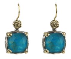 Konstantino Sterling Silver & 18k Gold Chrysocolla Doublet Earrings