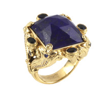Konstantino 18k Yellow Gold Sapphire & Lapis Doublet Ornate Rectangle Ring