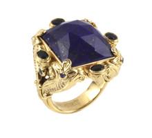 Konstantino 18k Yellow Gold Sapphire & Lapis Doublet Ornate Rectangle Ring