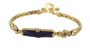 Konstantino 18k Yellow Gold Sapphire & Lapis Single Stone Bar Bracelet
