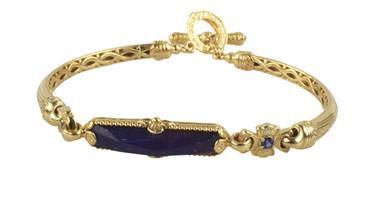 Konstantino 18k Yellow Gold Sapphire & Lapis Single Stone Bar Bracelet