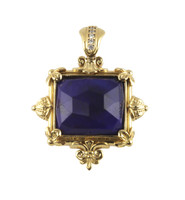 Konstantino 18k Yellow Gold Lapis Square Stone Ornate Pendant