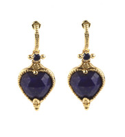 Konstantino 18k Yellow Gold Lapis & Sapphire Petite Drop Earrings