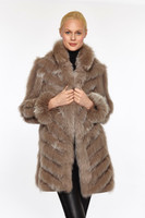 Reversible Fox Coat - Stone