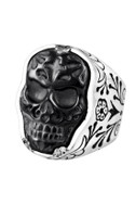 King Baby Studio Small Carved Jet Day Of The Dead Skull Ring In Silver Frame