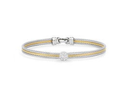 Alor 3 Cable Grey and Yellow Bangle with Single Round Diamond Cluster