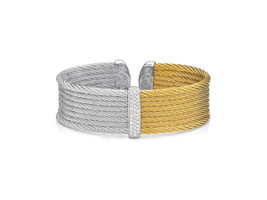 Alor 8 Cable Grey and Yellow Bangle with Diamond Cluster