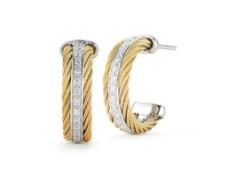 Alor 2 Cable Yellow Hoop Earrings with Diamonds