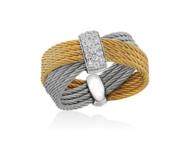 Alor Grey and Yellow Cable Ring with Diamond Cluster