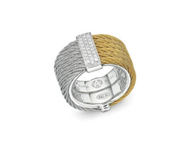 Alor 6 Cable Grey and Yellow Cable Ring with Diamond Cluster