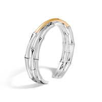 John Hardy Bamboo 18K Gold and Silver Flex Cuff