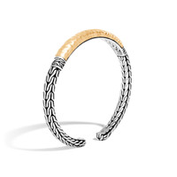 John Hardy Classic Chain Hammered 18K Gold and Silver Slim Flex Cuff