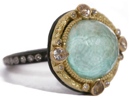 Armenta Green Turquoise and Diamond Ring