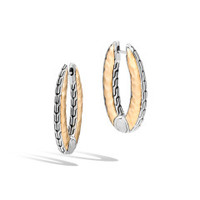 John Hardy Classic Chain Gold and Silver Reversible Small Hoop Earrings