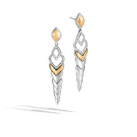 John Hardy Legends Naga 18K Gold and Silver Diamond Pave Long Drop Earrings