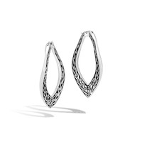 John Hardy Classic Chain Wave Silver Large Hoop Earrings